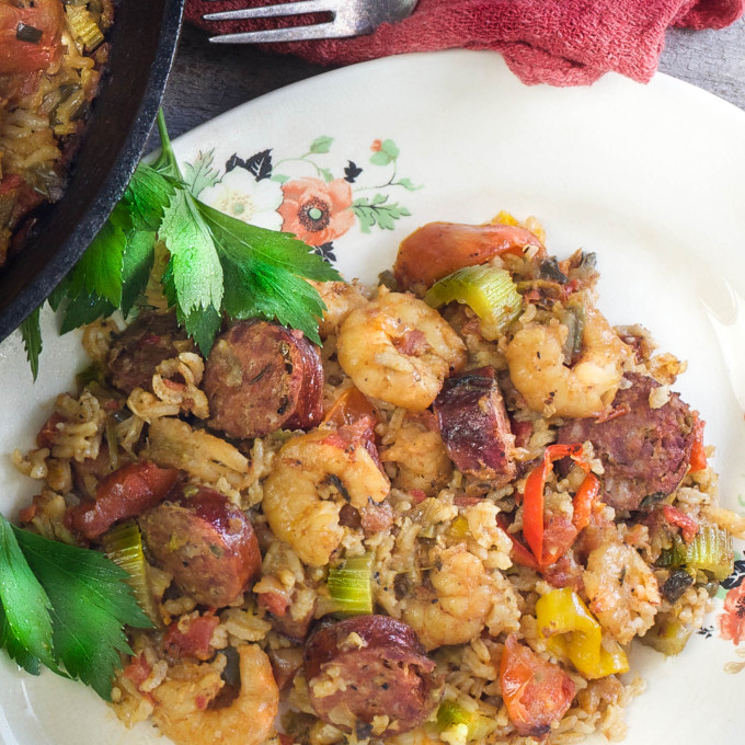Bold flavors of venison and pork combine with bright flavors of briny Gulf shrimp and tomatoes in this tasty one-pot dinner.