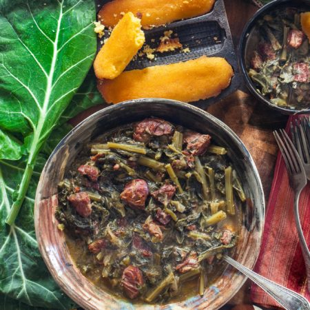 Slowly simmered in a rich broth of smoked ham bones, my Braised Collards in Hock Stock is a journey to the heart of Southern cooking.  (All photos credit: George Graham)
