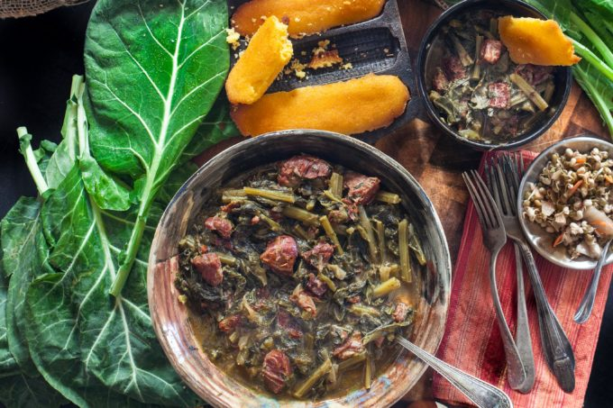 Slowly simmered in a rich broth of smoked ham bones, my Braised Collards in Hock Stock is a journey to the heart of Southern cooking.