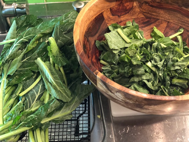 Cleaned and chopped, these collards are ready for a long braise.