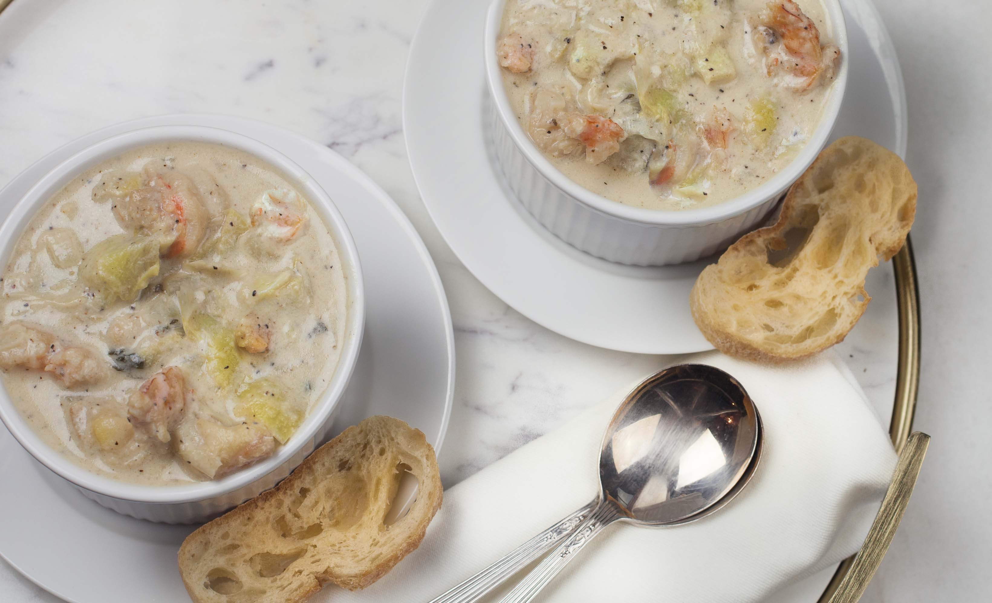 Shrimp and Artichoke Bisque is an elegant starter for your dinner table.