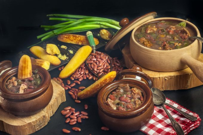 Warm up to a bowl of Red Bean, Mustard Green, and Green Onion Sausage Chowder.  (All photos credit: George Graham)