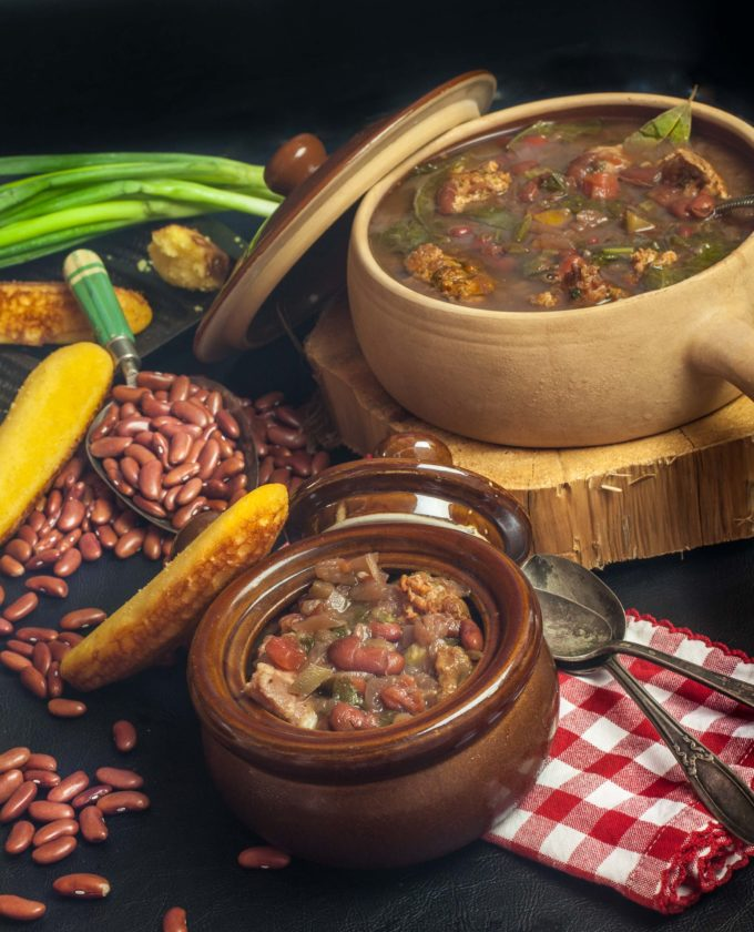 Red Bean, Mustard Green, and Green Onion Sausage Soup is the perfect dinner on a cold winter's night.