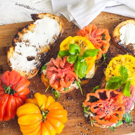 Heirloom tomatoes bursting with flavor are the star in this Southern sandwich.  (All photos credit: George Graham)