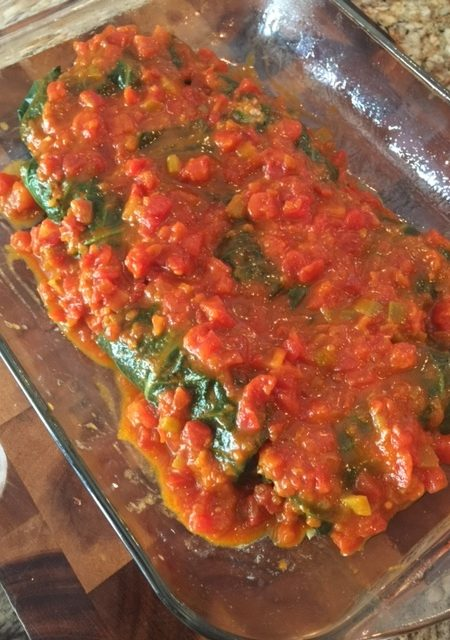 Stuffed Collard Rolls--sauced and ready for the oven.