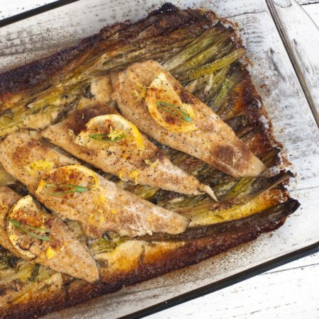 Baked Flounder with Spring Onion Gratin