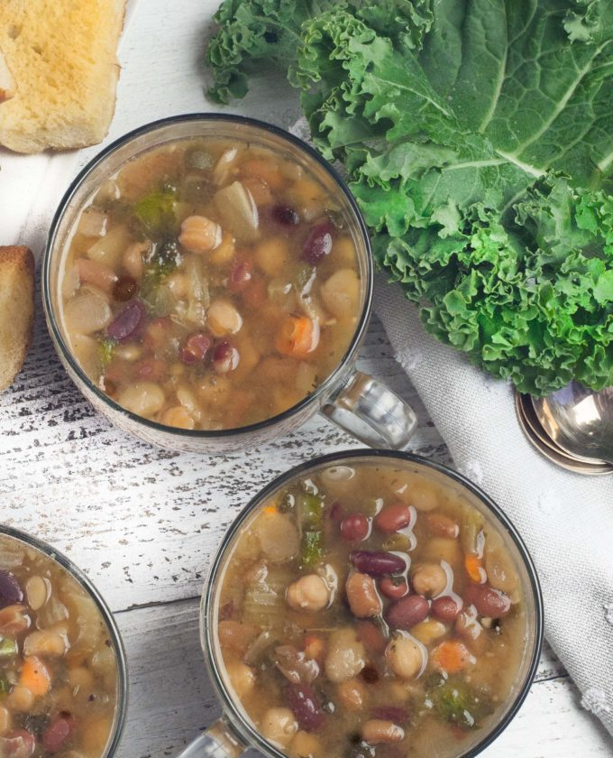 Warm up to a bowl of this flavor-filled 5-Bean Kale Soup.
