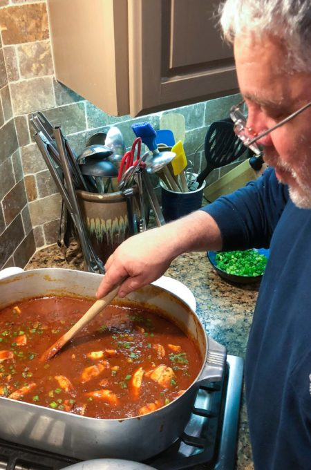 Stirring the pot, Lee Robicheaux is a seasoned Cajun cook.