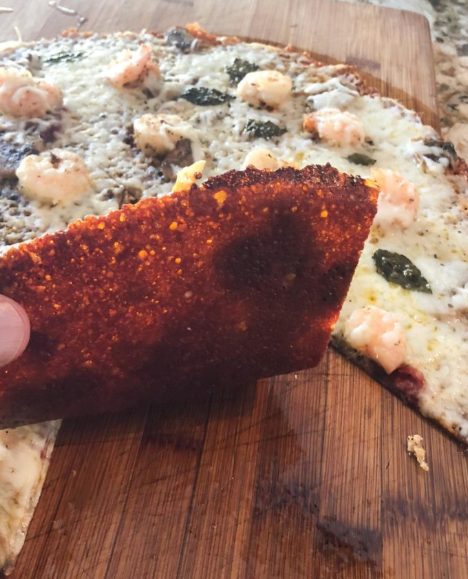 The trick: the bottom cheese crust melts to a crispy texture that holds all the ingredients together, but without the carbs or gluten.